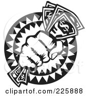 Royalty Free RF Clipart Illustration Of A Black And White Hand Holding Cash by David Rey