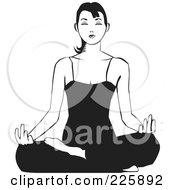 Royalty Free RF Clipart Illustration Of A Black And White Relaxed Woman Meditating On The Floor by David Rey