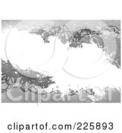 Royalty Free RF Clipart Illustration Of A Grungy Grayscale Background With Scribbles And White Copyspace