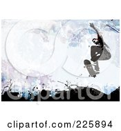 Royalty Free RF Clipart Illustration Of A Grungy Skateboarder Over Black Blue And Purple Splatters by Arena Creative