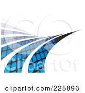 Royalty Free RF Clipart Illustration Of Black And Blue Patterned Swooshes Leading Into The Distance