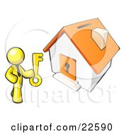 Clipart Illustration Of A Yellow Businessman Holding A Skeleton Key And Standing In Front Of A House With A Coin Slot And Keyhole