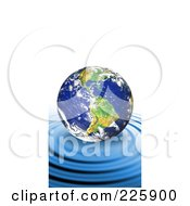 Royalty Free RF Clipart Illustration Of A 3d Earth Floating On Top Of Rippling Blue Water by Arena Creative