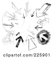 Royalty Free RF Clipart Illustration Of A Cicle Of Arrow Doodles Pointing Inwards by Arena Creative