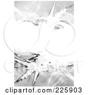 Royalty Free RF Clipart Illustration Of A Grungy Grayscale Background With Hazard Stripes And Splatters And White Copyspace