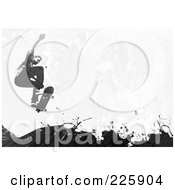 Royalty Free RF Clipart Illustration Of A Grungy Skateboarder Over Black Splatters