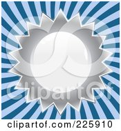 Royalty Free RF Clipart Illustration Of A Shiny Silver Seal Design Over Blue Rays by Arena Creative