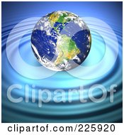 3d Earth Floating Atop Of Rippling Blue Water