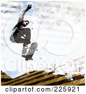 Royalty Free RF Clipart Illustration Of A Grungy Skateboarder Over Hazard Stripes