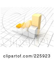 3d Yellow And White Bar Graph On A Grid