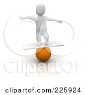 3d Blanco Man Balancing On A Ball And Board