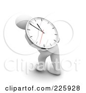 Royalty Free RF Clipart Illustration Of A 3d Blanco Man Carrying A Clock On His Back by Jiri Moucka