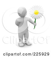 3d Blanco Man Holding Out A Pretty White Daisy