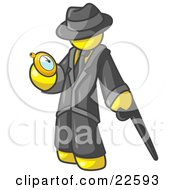 Clipart Illustration Of A Yellow Businessman Checking His Pocket Watch