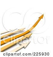 3d Orange And Beige Arrows Rushing To The Right One Curving Upwards
