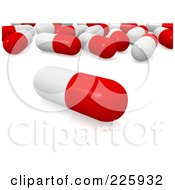 Royalty Free RF Clipart Illustration Of A 3d Red And White Pill In Front Of A Group by Jiri Moucka