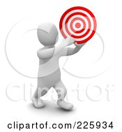 Royalty Free RF Clipart Illustration Of A 3d Blanco Man Holding A Bullseye by Jiri Moucka