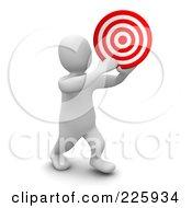 3d Blanco Man Holding A Bullseye