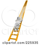 Royalty Free RF Clipart Illustration Of A 3d Blanco Man Climbing Up An Orange Ladder by Jiri Moucka