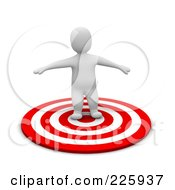 Royalty Free RF Clipart Illustration Of A 3d Blanco Man Balancing In The Center Of A Bullseye