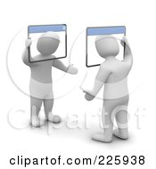 Royalty Free RF Clipart Illustration Of 3d Blanco Men Chatting With Web Browsers by Jiri Moucka