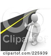 Royalty Free RF Clipart Illustration Of A 3d Blanco Man Standing Roadside And Hitchhiking