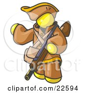 Clipart Illustration Of A Yellow Man In Hunting Gear Carrying A Rifle