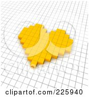 Royalty Free RF Clipart Illustration Of A 3d Heart Icon Made Of Yellow Pixels On A Grid by Jiri Moucka