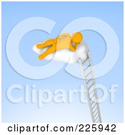 Royalty Free RF Clipart Illustration Of A 3d Anaranjado Man Resting On A Cloud Atop A Ladder by Jiri Moucka
