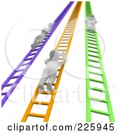 Royalty Free RF Clipart Illustration Of 3d Blanco Men Climbing Up Colorful Ladders