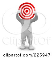 Royalty Free RF Clipart Illustration Of A 3d Blanco Man Holding A Bullseye In Front Of His Face by Jiri Moucka