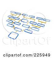 Royalty Free RF Clipart Illustration Of A 3d Blue And Yellow Diagram With Different Option Boxes by Jiri Moucka