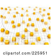 3d Background Of Orange Pixels On A Grid