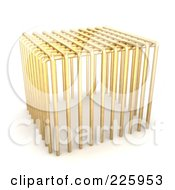 Royalty Free RF Clipart Illustration Of A 3d Golden Jail Cage