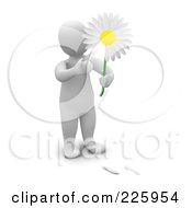 Royalty Free RF Clipart Illustration Of A 3d Blanco Man Picking Petals From A White Daisy