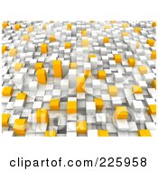 3d Background Of White Gray And Orange Towers 1