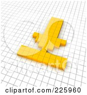 Royalty Free RF Clipart Illustration Of A 3d Download Icon Made Of Yellow Pixels On A Grid