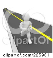 Royalty Free RF Clipart Illustration Of A 3d Blanco Man Standing Roadside And Hitchhiking by Jiri Moucka