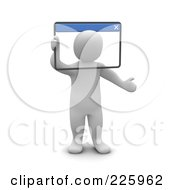 Royalty Free RF Clipart Illustration Of A 3d Blanco Man Looking Through A Web Browser