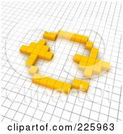 Royalty Free RF Clipart Illustration Of A 3d Refresh Icon Made Of Yellow Pixels On A Grid