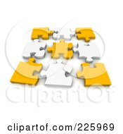 Poster, Art Print Of 3d Disconnected Puzzle Of Yellow And White Pieces