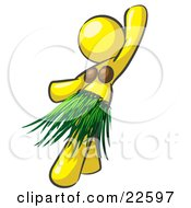 Clipart Illustration Of A Yellow Hula Dancer Woman In A Grass Skirt And Coconut Shells Performing At A Luau