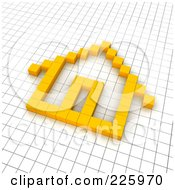 Royalty Free RF Clipart Illustration Of A 3d Home Icon Made Of Yellow Pixels On A Grid by Jiri Moucka
