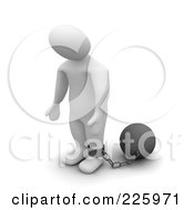 3d Blanco Man Standing With A Ball And Chain