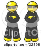 Clipart Illustration Of Two Yellow Men Standing With Their Arms Crossed Wearing Sunglasses And Black Suits by Leo Blanchette