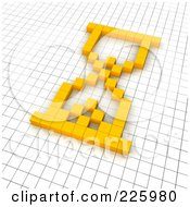 3d Hourglass Icon Made Of Yellow Pixels On A Grid