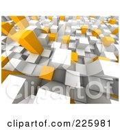 Royalty Free RF Clipart Illustration Of A 3d Background Of White Gray And Orange Towers 2