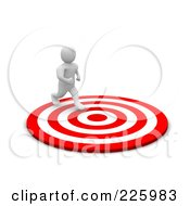 Royalty Free RF Clipart Illustration Of A 3d Blanco Man Running To The Center Of A Bullseye by Jiri Moucka