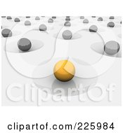 Royalty Free RF Clipart Illustration Of A 3d Yellow Orb In A Crater Other Gray Orbers In Craters On Gray by Jiri Moucka