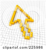 Royalty Free RF Clipart Illustration Of A 3d Cursor Arrow Icon Made Of Yellow Pixels On A Grid by Jiri Moucka